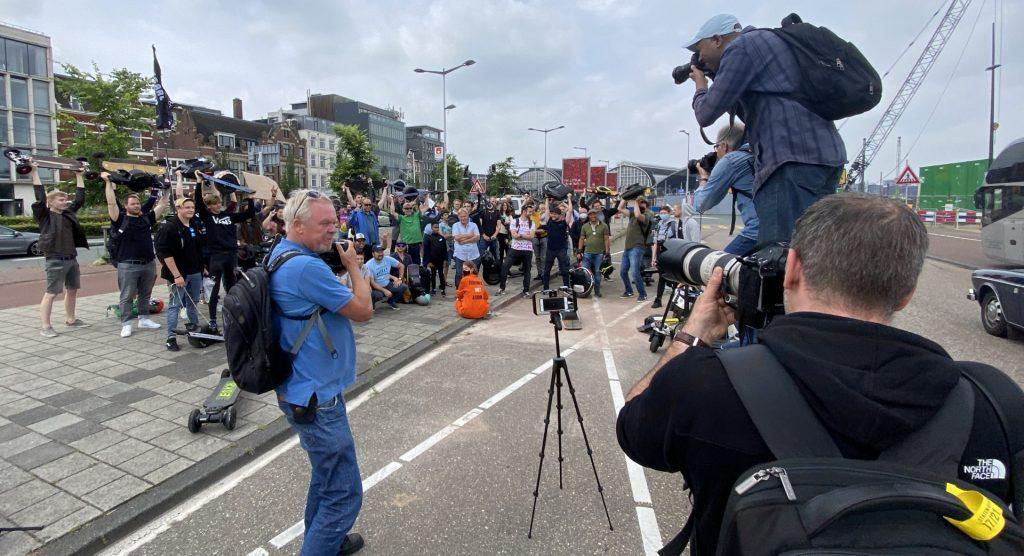 Demostratie voor kleine elektrische voertuigen in Amsterdam op 10 Juli